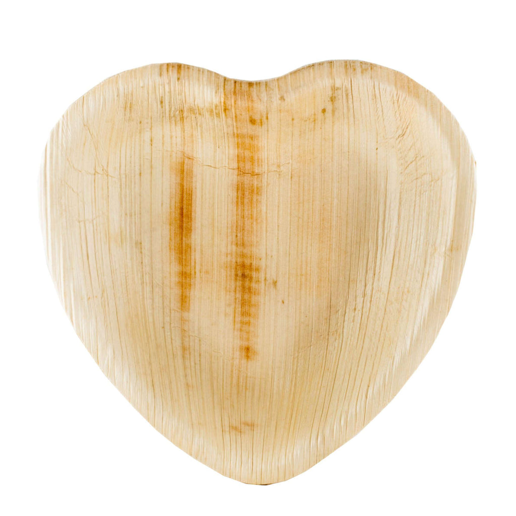 "25 Pack 7"" Eco-Friendly Palm Leaf Disposable Heart Salad Dessert Plates"