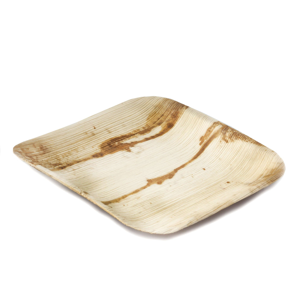 "25 Pack 7"" Eco-Friendly Palm Leaf Disposable Square Salad Dessert Plates"