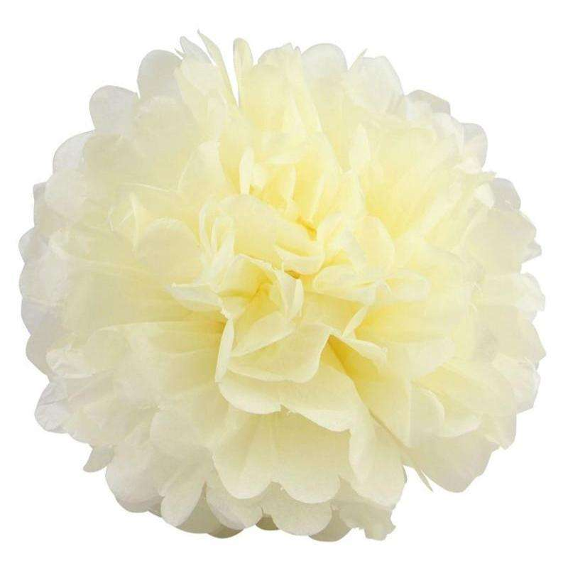 12 PCS Paper Tissue Wedding Party Festival Flower Pom Pom - Ivory - 8""