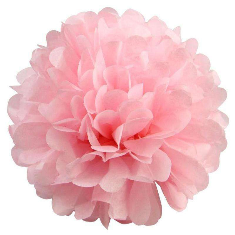 12 PCS Paper Tissue Wedding Party Festival Flower Pom Pom - Pink - 8""