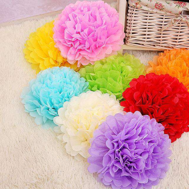 "10"" Teal Paper Tissue Fluffy Pom Pom Flower Balls For Bridal Shower Wedding Birthday Party - 12 PCS"