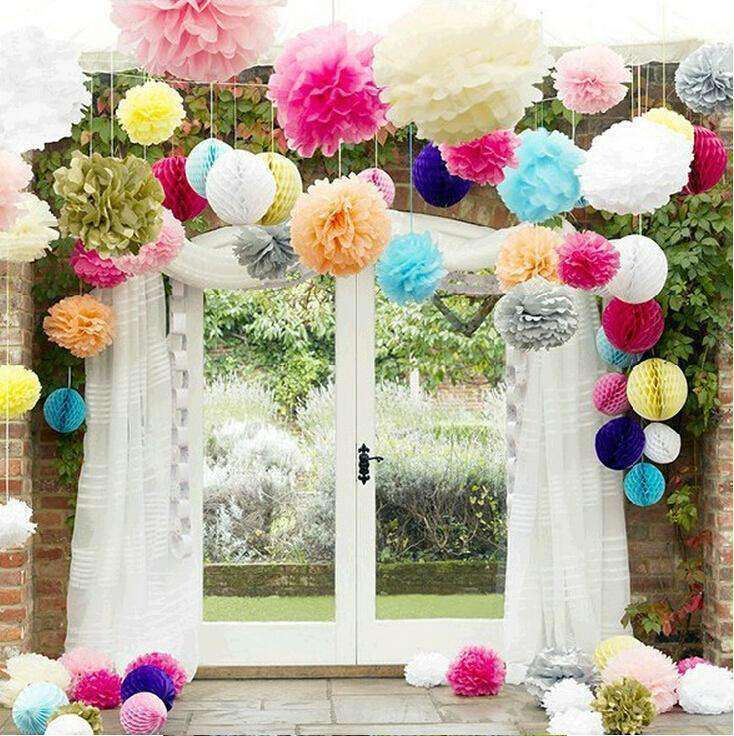 "10"" Red Paper Tissue Fluffy Pom Pom Flower Balls For Bridal Shower Wedding Birthday Party - 12 PCS"
