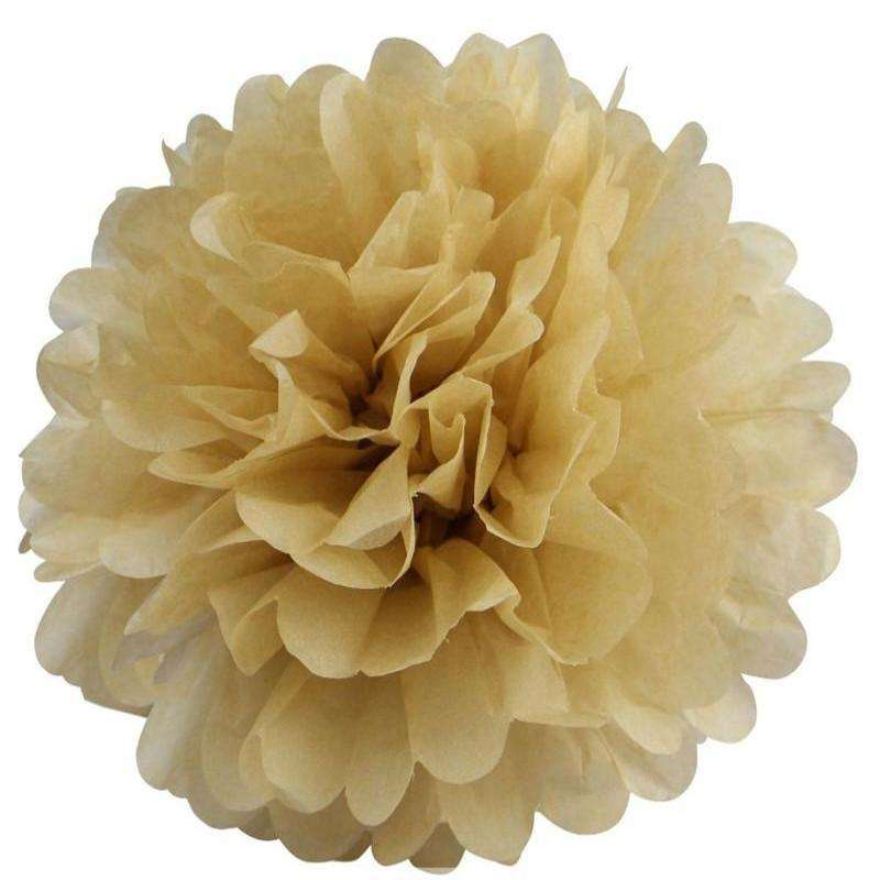 12 PCS Paper Tissue Wedding Party Festival Flower Pom Pom - Champagne- 12""