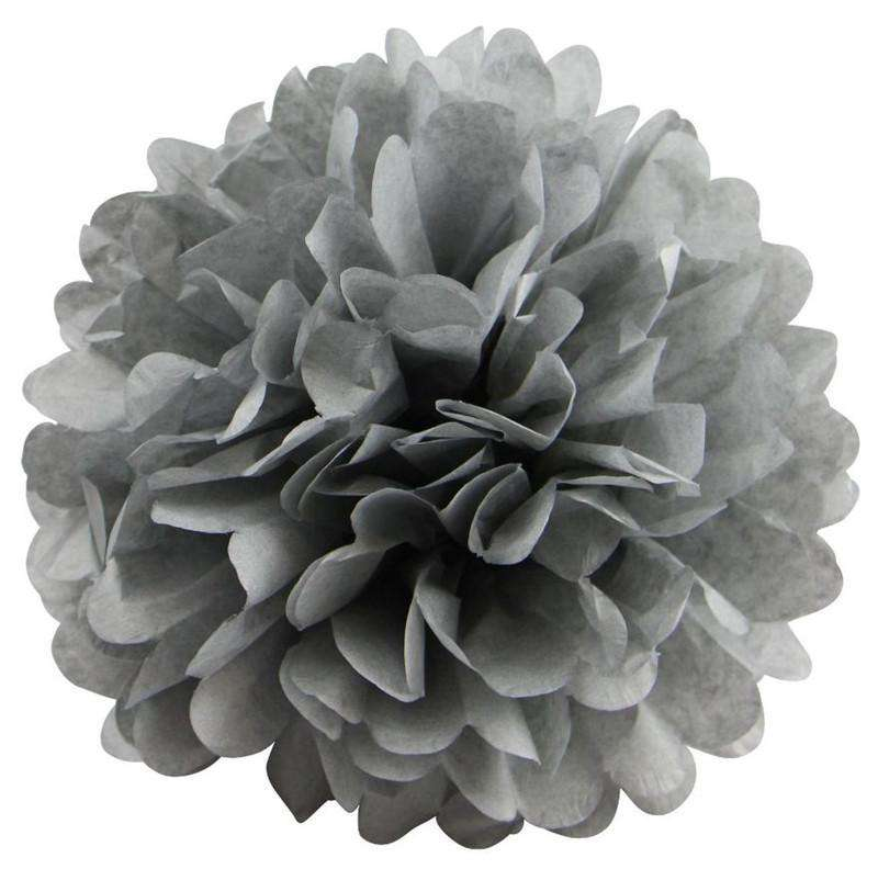 12 PCS Paper Tissue Wedding Party Festival Flower Pom Pom - Silver - 14""