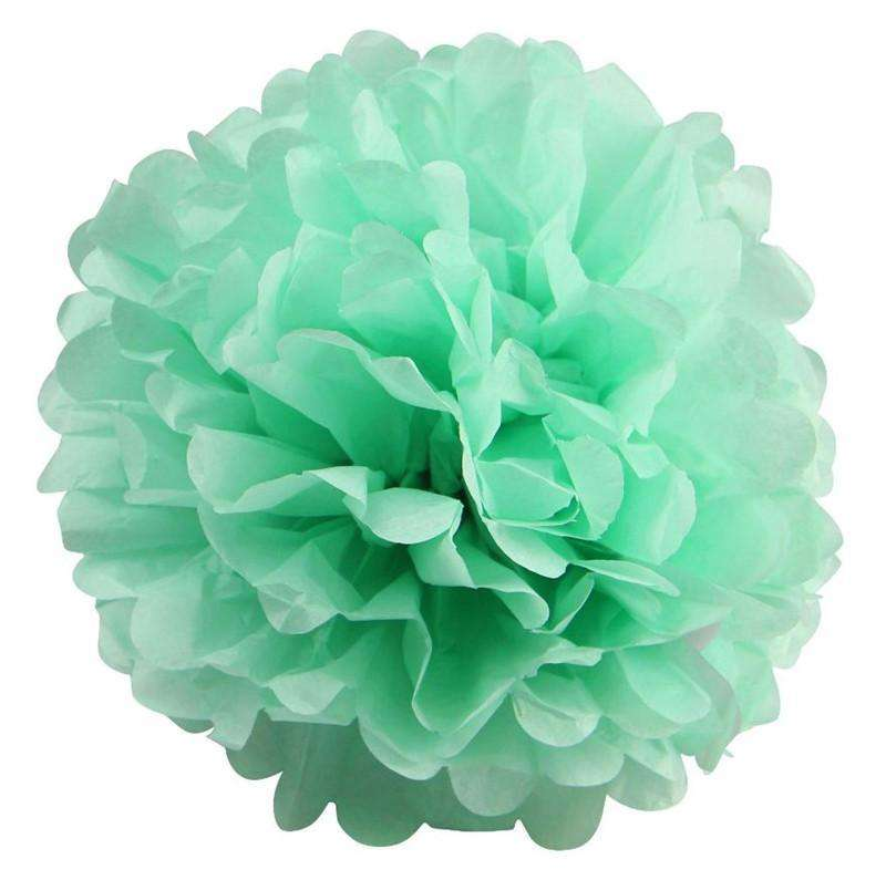 12 PCS Paper Tissue Wedding Party Festival Flower Pom Pom - Tea Green - 14""