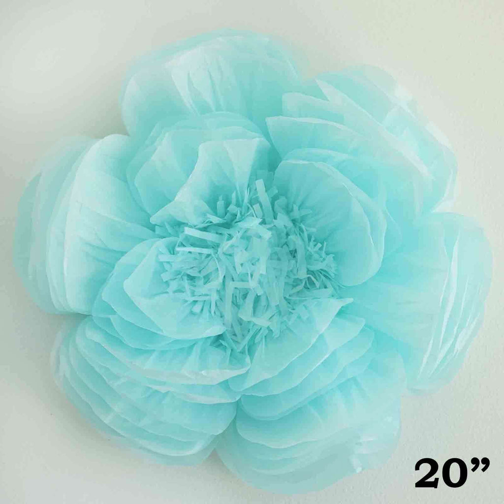 "20"" Blue DIY Giant Bloomed Peony Paper Flower Wall Backdrop Decor"
