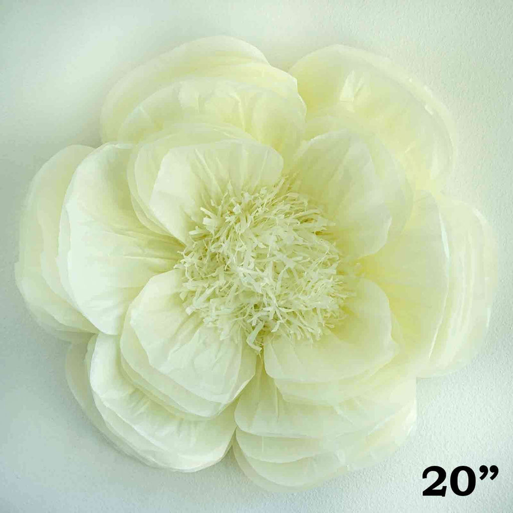 "20"" Ivory DIY Giant Bloomed Peony Paper Flower Wall Backdrop Decor"