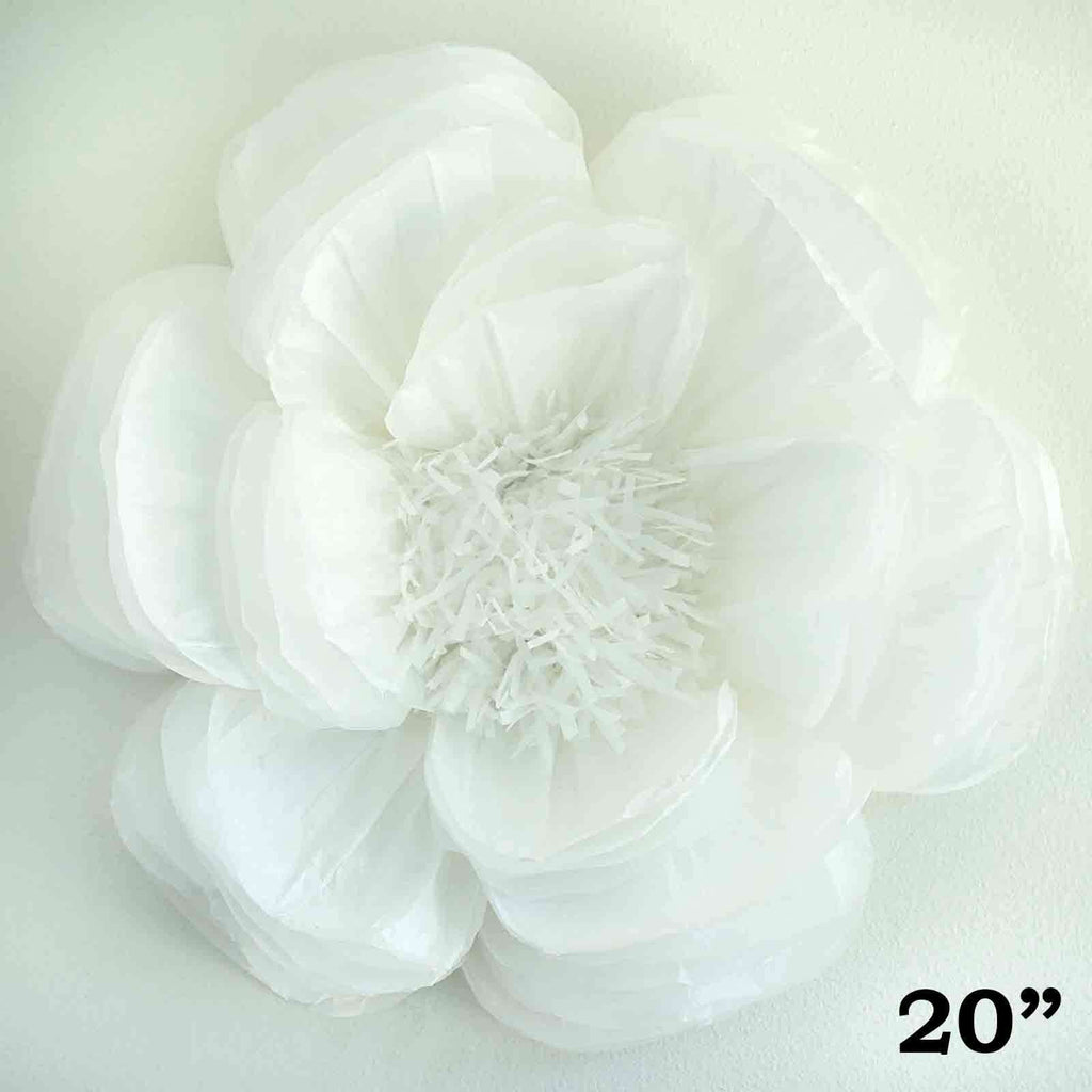 "20"" White DIY Giant Bloomed Peony Paper Flower Wall Backdrop Decor"