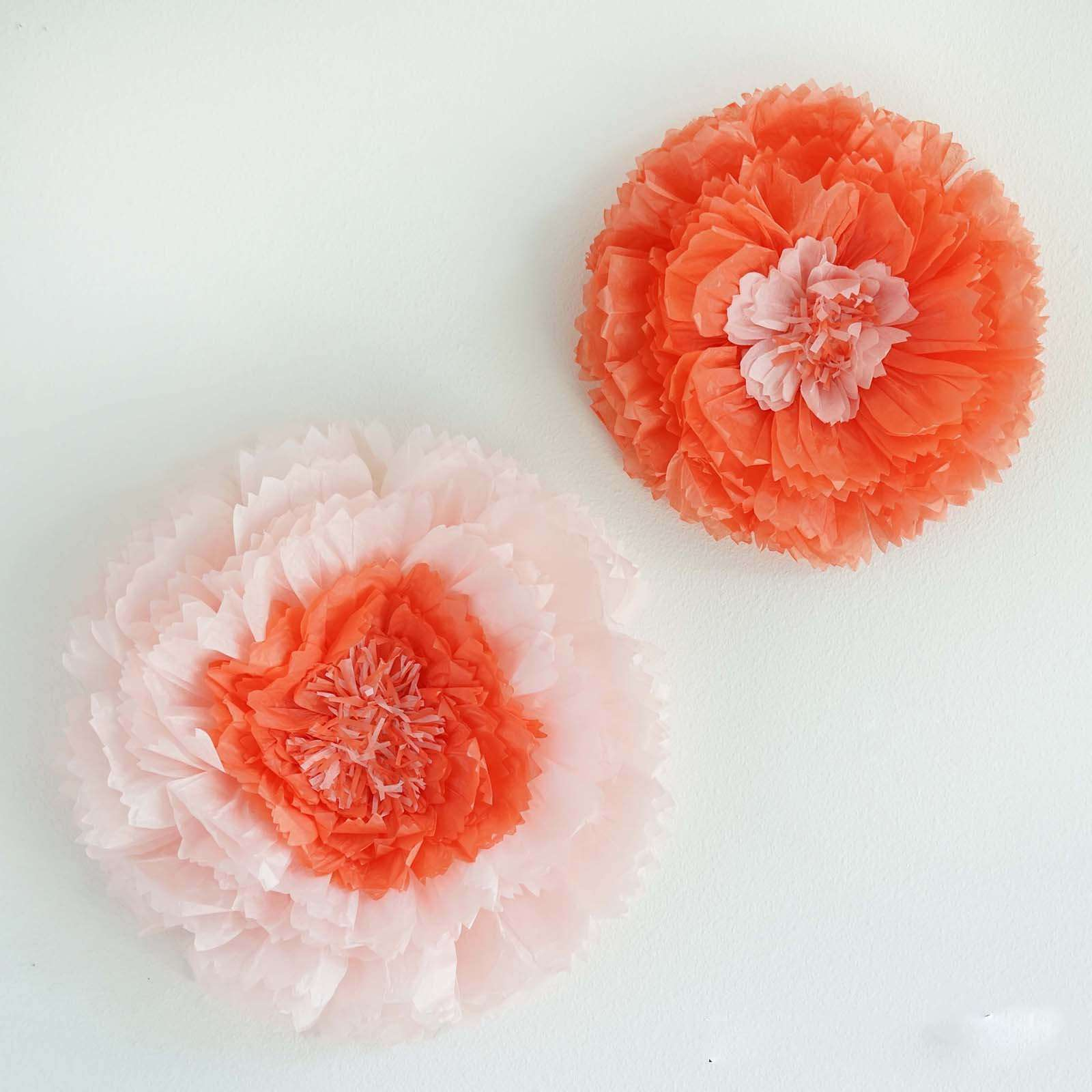 2 Pack 12 16 Coral Diy Giant Carnation Paper Flower Wall Backdrop Decor