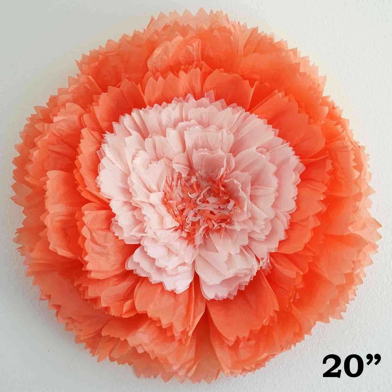 20 Coral Diy Giant Carnation Paper Flower Wall Backdrop Decor