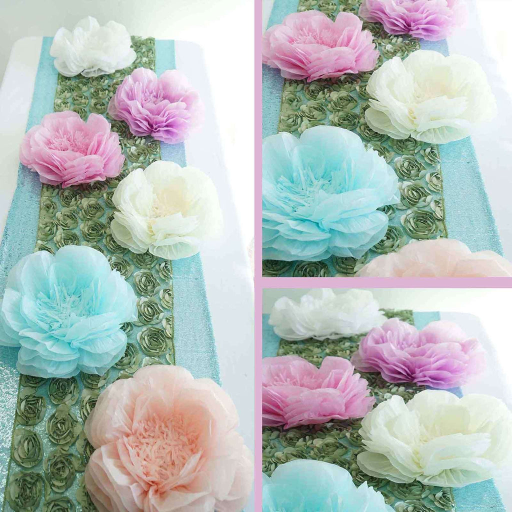 "2 Pack 12"" & 16"" Coral DIY Giant Bloomed Peony Paper Flower Wall Backdrop Decor"