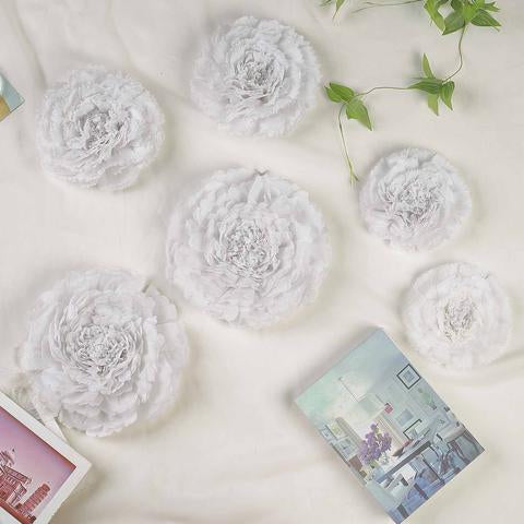 6 Pack White Assorted Size Giant Carnation Paper Flowers 7 9 11