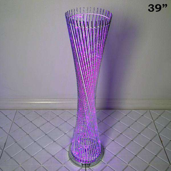 "39"" Color Changing LED Spiral Metal Wedding Event Party Tower Columns"