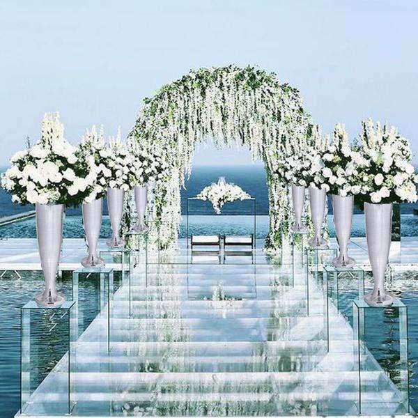 "50"" Silver Mirror Mosaic Polystone Flower Floor Vase Wedding Aisle Prop Party Columns"