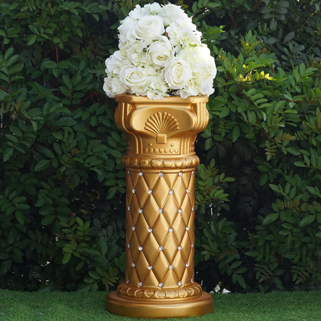 "4 PCS 10mm Crystal Studded Gold Wedding French Columns Plant Stand With Mirror Mosaic - 25.25""x 10"""