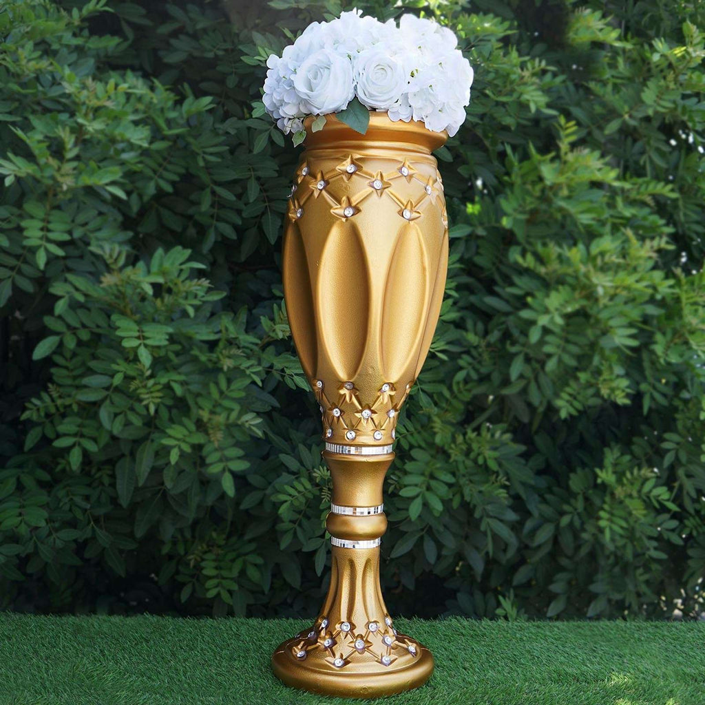 "4 PCS Crystal Studded Gold Roman Inspired Decorative Wedding Party Floral Plant Stand Pot - 31""x9"""