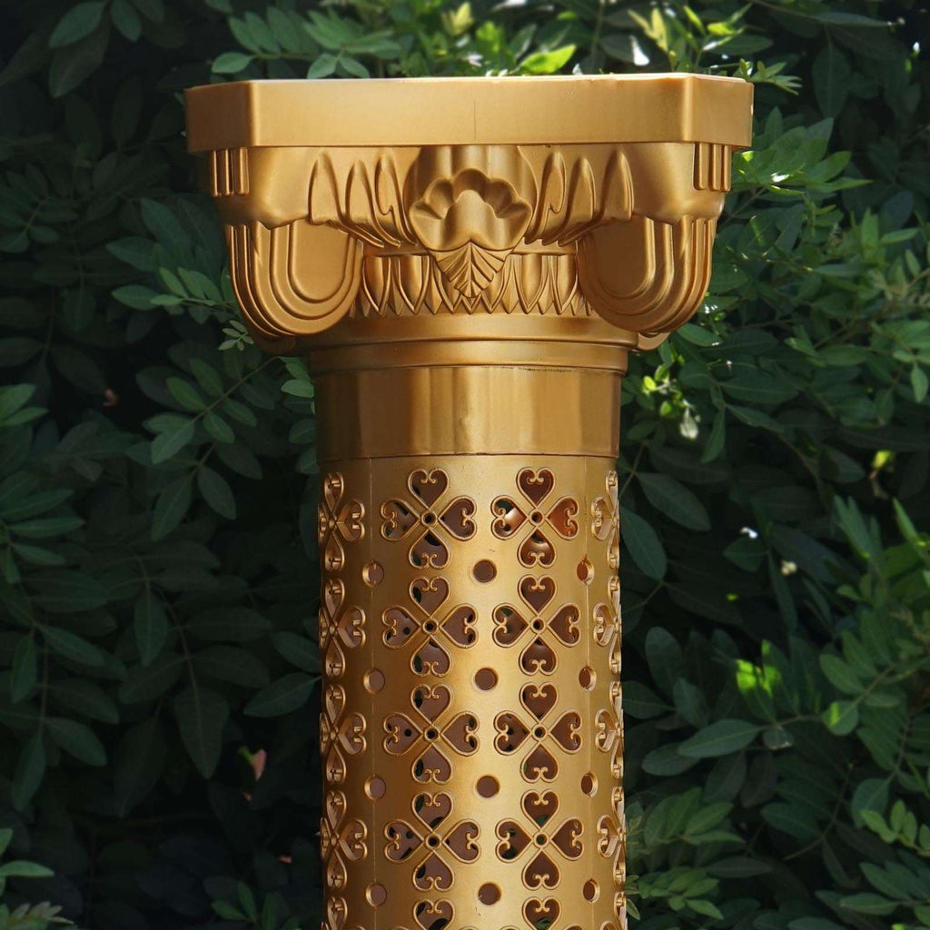 "4 PCS Gold Venetian Artistic Roman Decorative Wedding Party Columns Plant Stand - 41"" Tall"