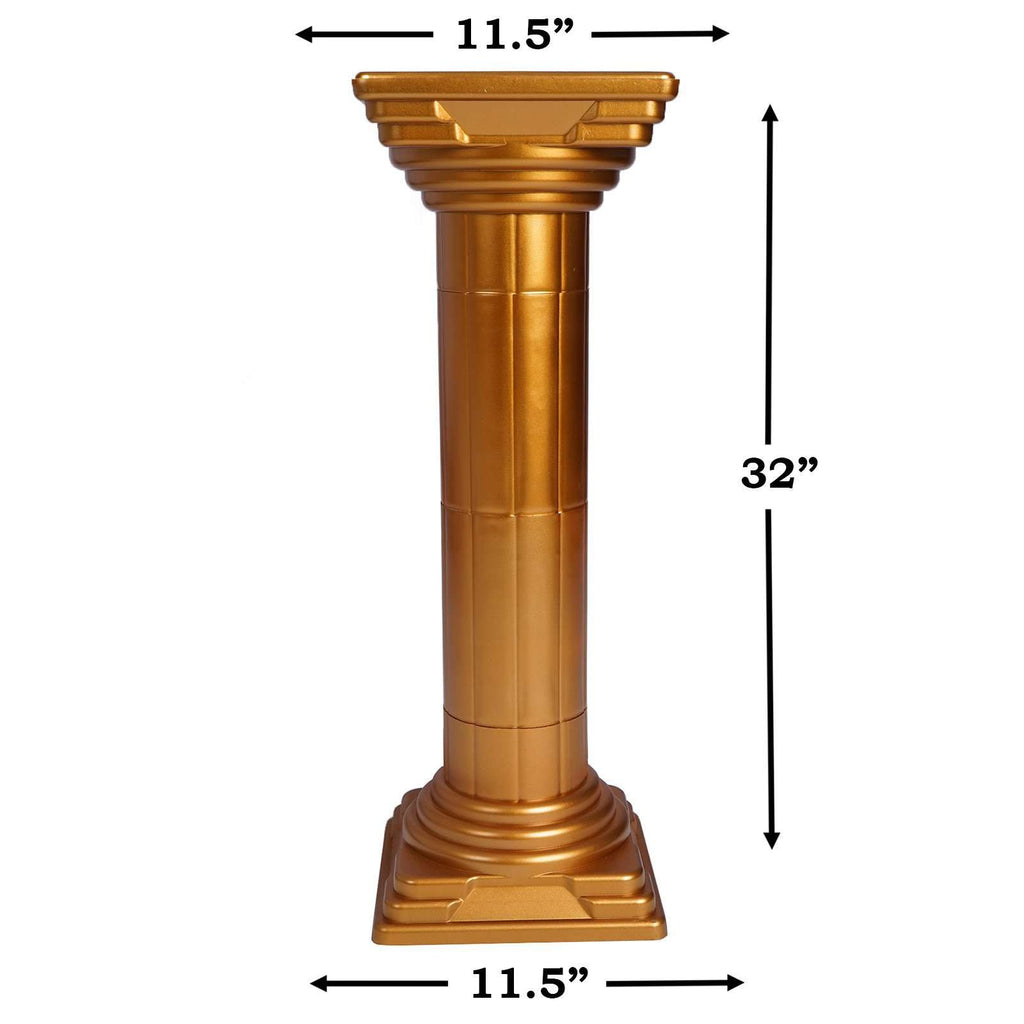"4 PCS Gold Empire Roman Height Adjustable Decorative Wedding Party Columns Plant Stand - 32"" Tall"