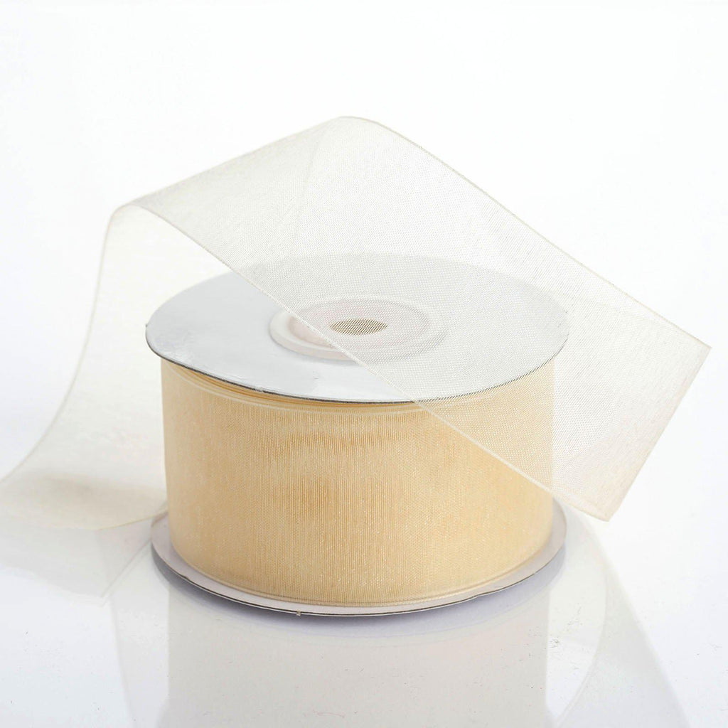 "25 Yard 1.5"" DIY Ivory Organza Ribbon With Mono Satin Edge For Craft Dress Wedding"