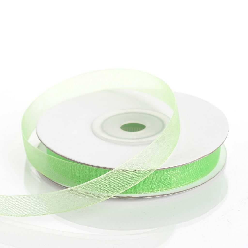 "25 Yard 3/8""DIY Apple Green Organza Ribbon With Satin Edges"