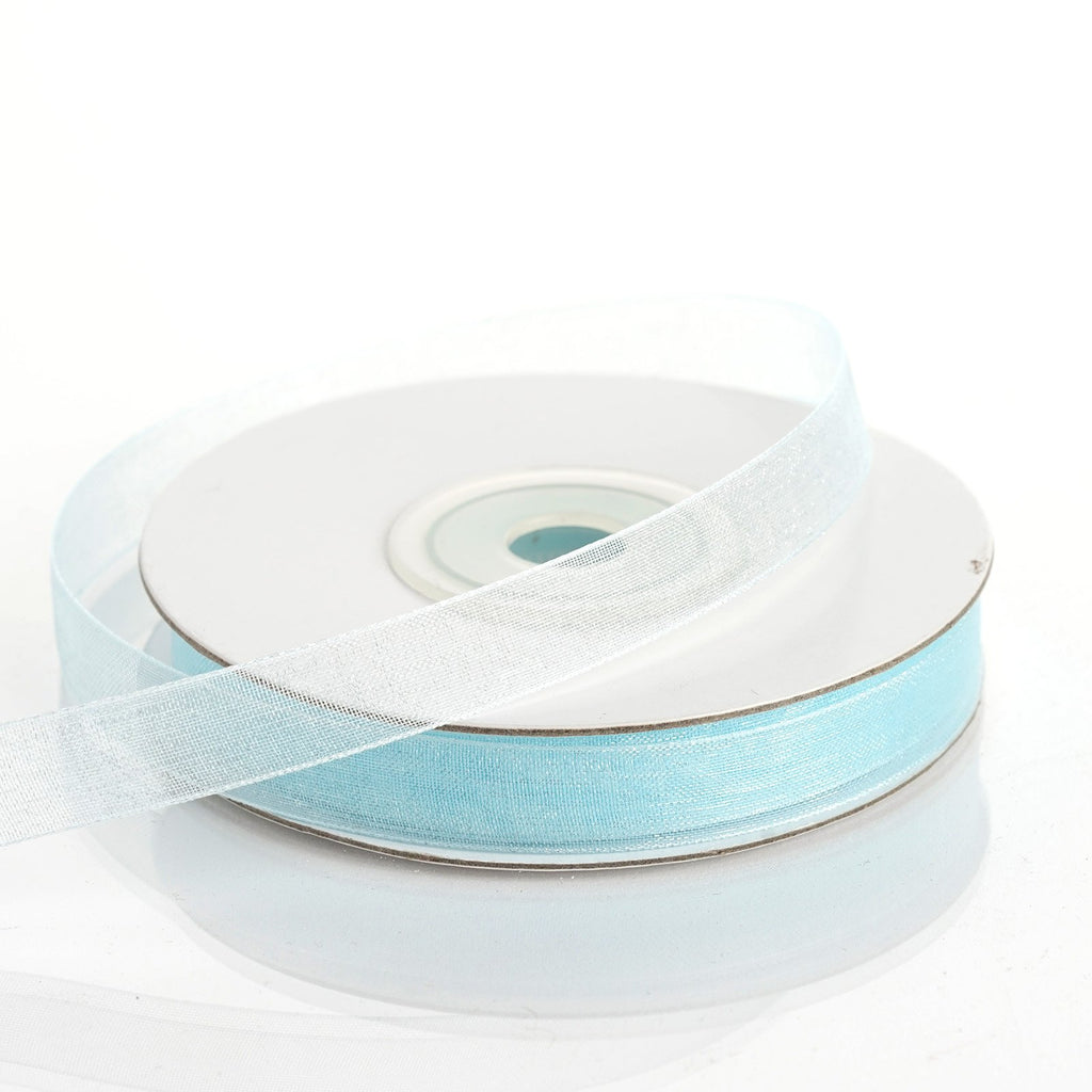 "25 Yard 3/8""DIY Baby Blue Organza Ribbon With Satin Edges"