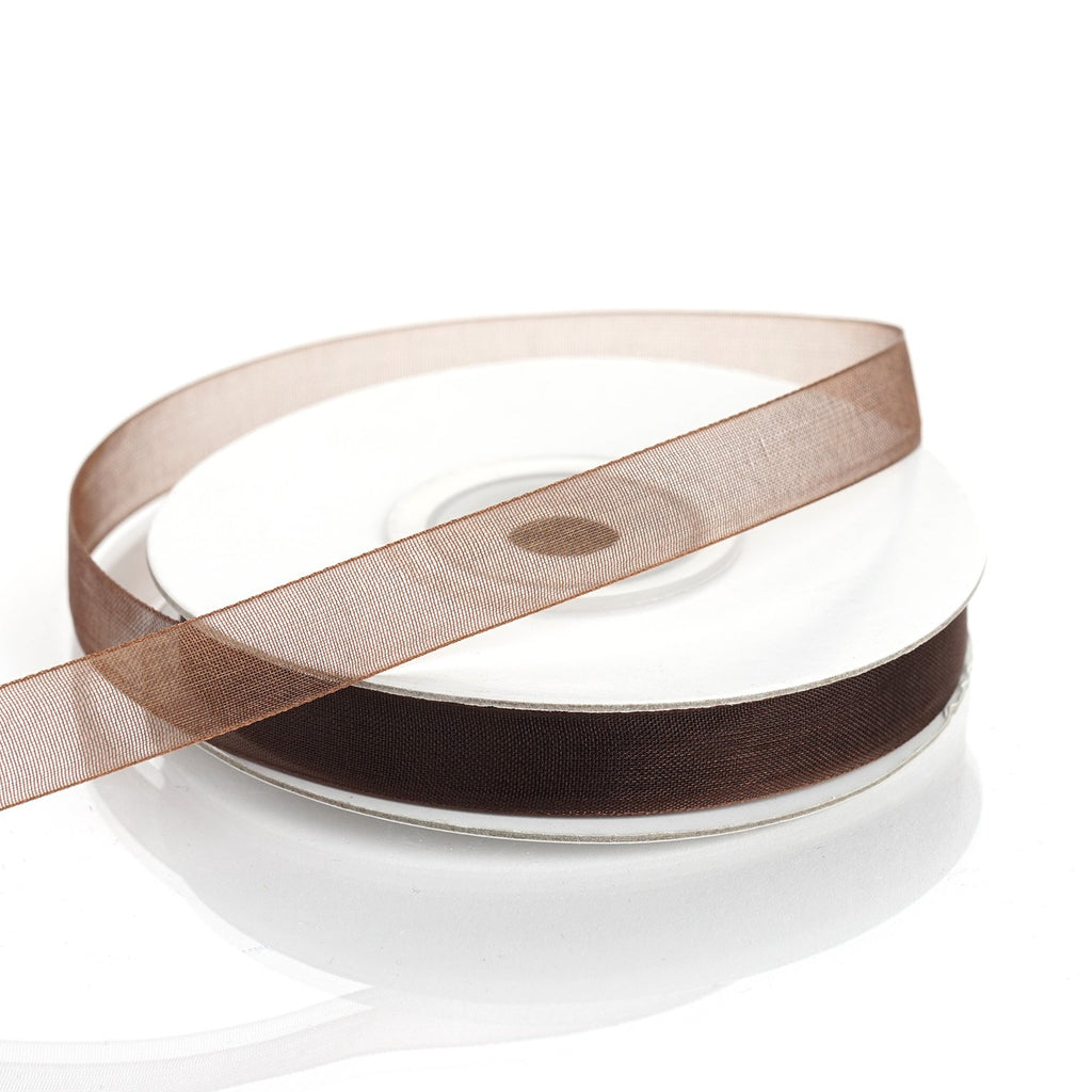 "25 Yard 3/8""DIY Chocolate Organza Ribbon With Satin Edges"