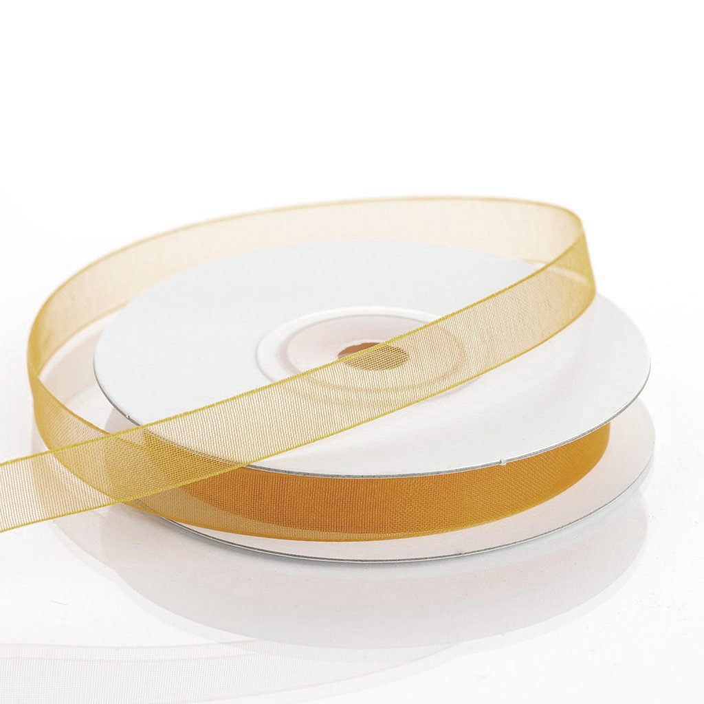 "25 Yard 3/8""DIY Gold Organza Ribbon With Satin Edges"