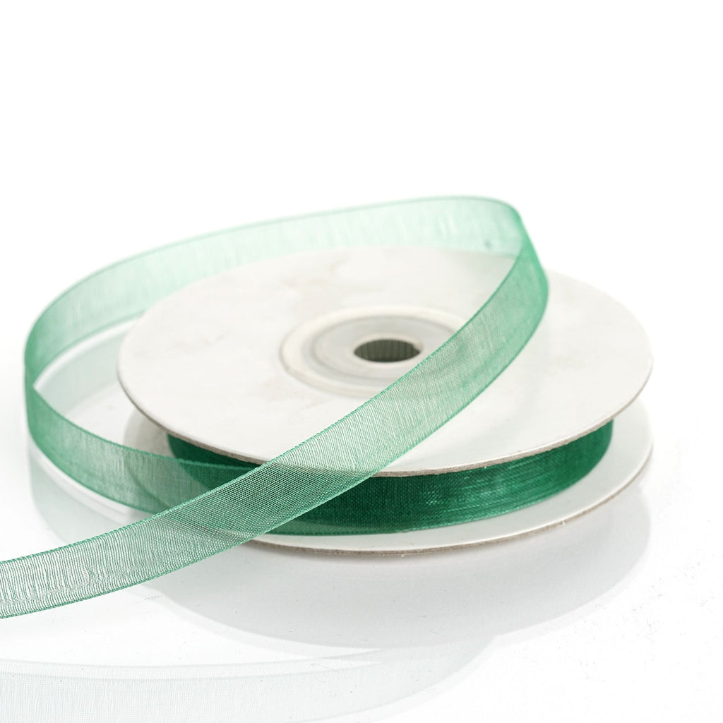 "25 Yard 3/8""DIY Hunter Green Organza Ribbon With Satin Edges"