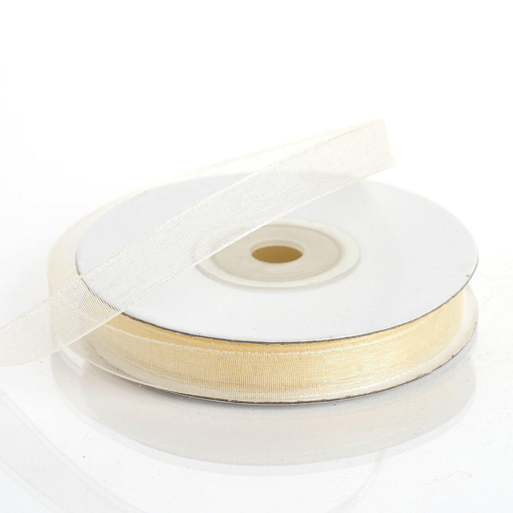 "25 Yard 3/8""DIY Ivory Organza Ribbon With Satin Edges"