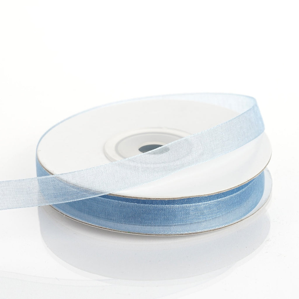 "25 Yard 3/8""DIY Serenity Blue Organza Ribbon With Satin Edges"