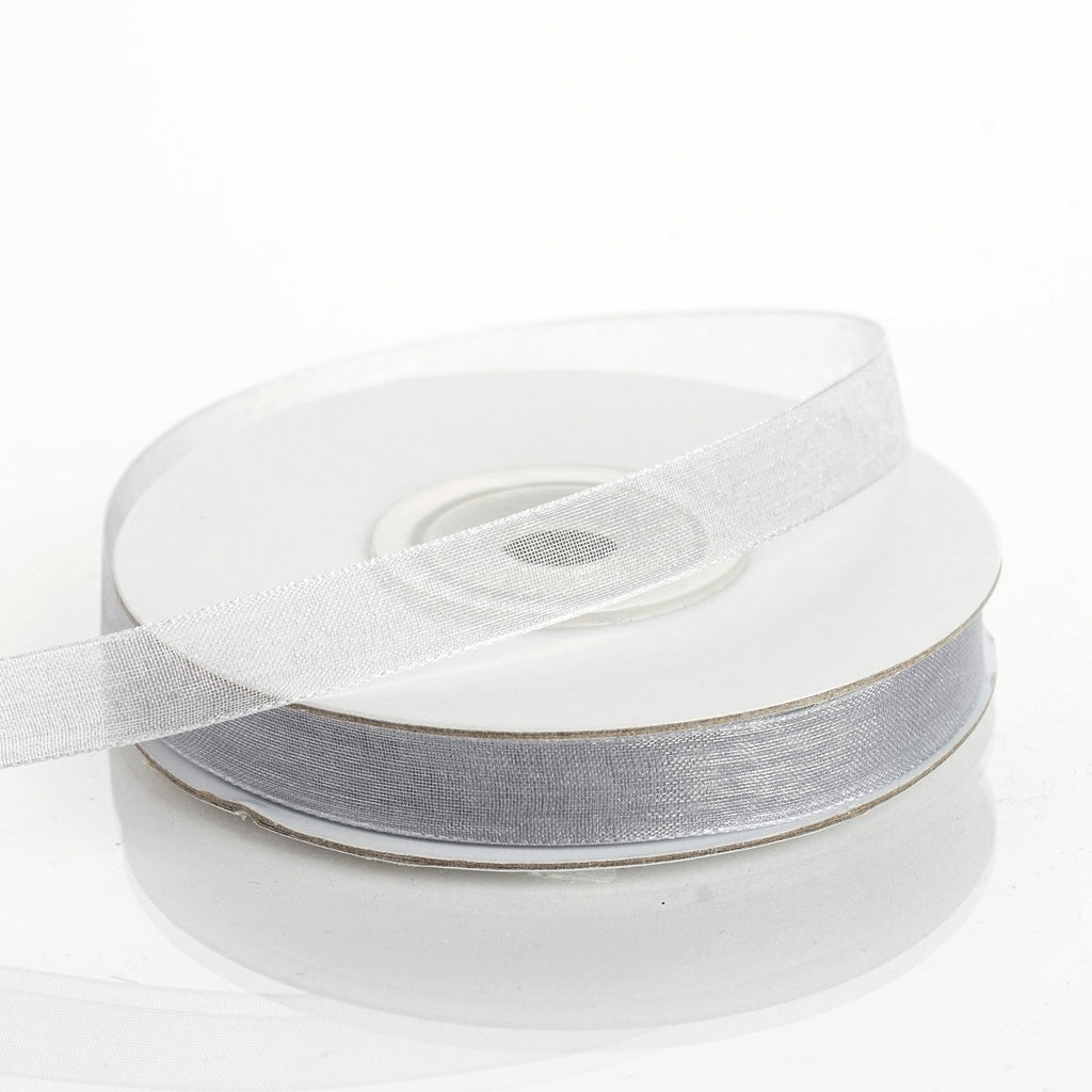 "25 Yard 3/8""DIY Silver Organza Ribbon With Satin Edges"