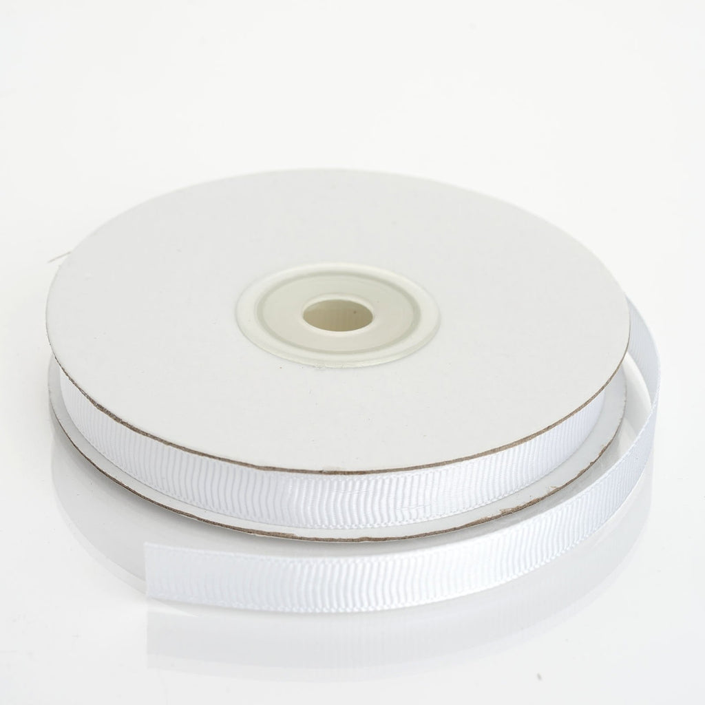 "25 Yards 3/8"" DIY White Grosgrain Ribbon"