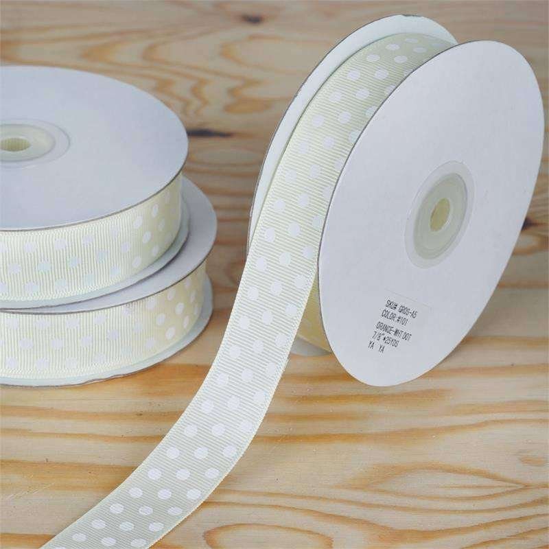 "7/8"" Polka Dot Ribbon-Yellow"