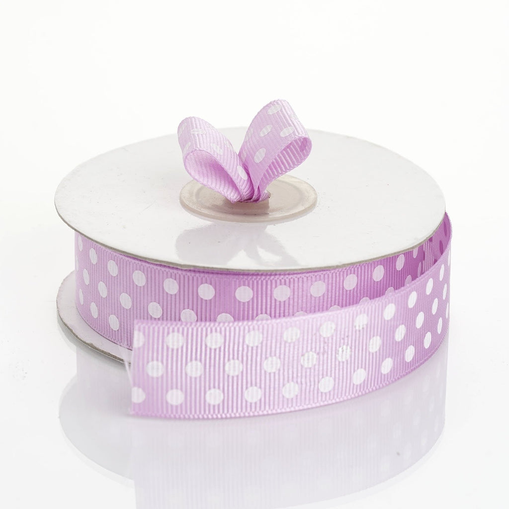 "25 Yards 7/8"" DIY Purple/White Grosgrain White Polka Dot Ribbon Decoration"