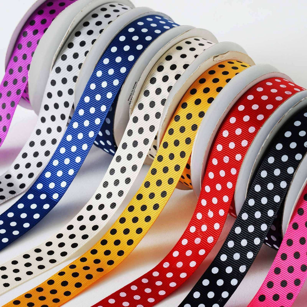 "7/8"" Polka Dot Ribbon-Orange - Black dots"