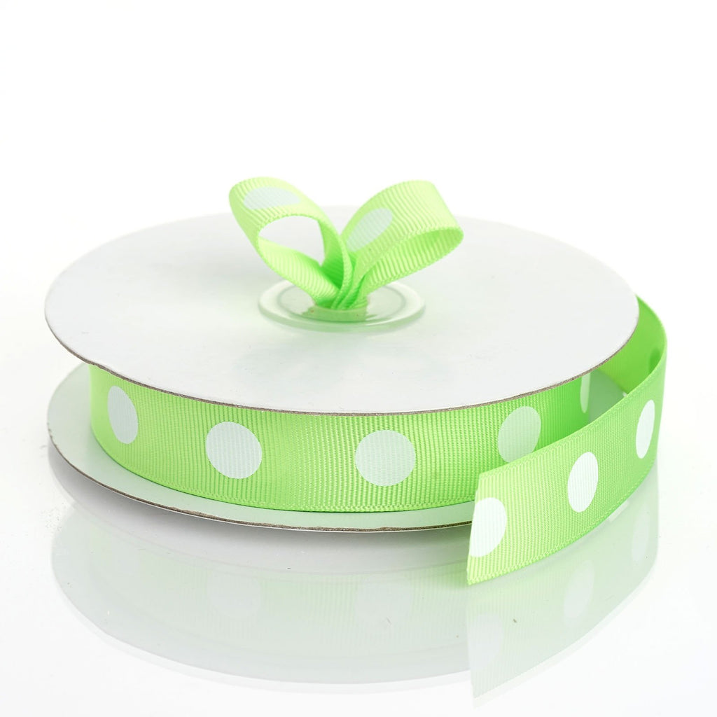 "25 Yards 7/8"" DIY Apple Green Grosgrain Polka Dot Ribbon Decoration"