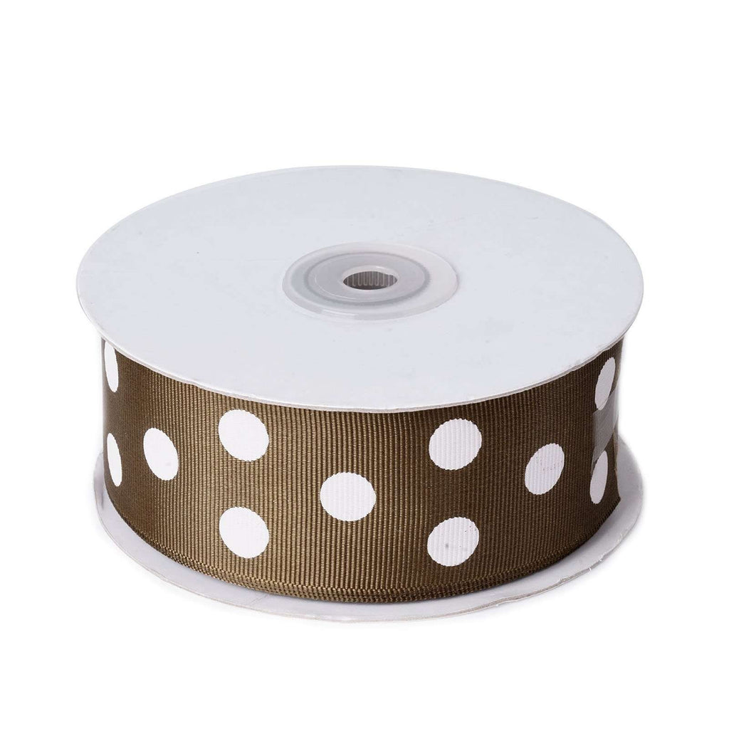 "25 Yards 1.5"" DIY Chocolate/White Grosgrain Polka Dot Ribbon"