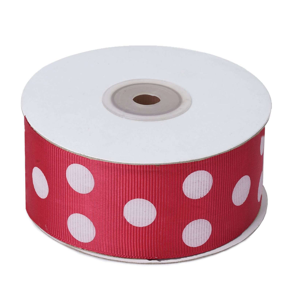 "25 Yards 1.5"" DIY Fuchsia/White Grosgrain Polka Dot Ribbon"