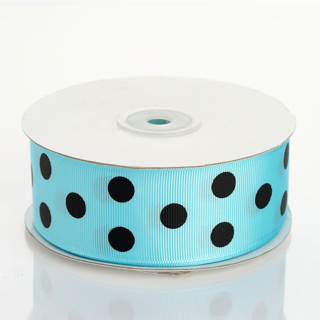 "25 Yards 1.5"" DIY Baby Blue/ Black Grosgrain Polka Dot Ribbon"