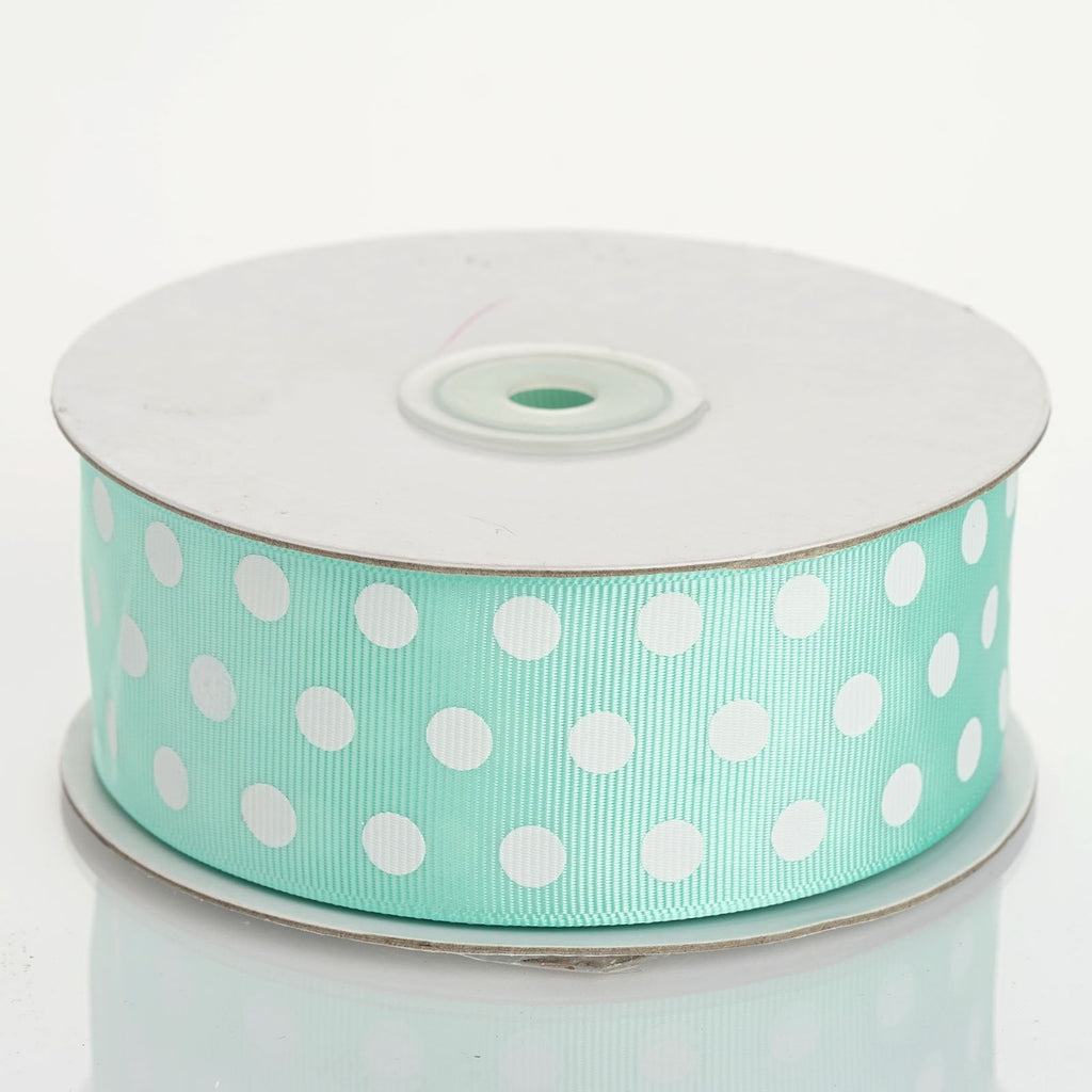 "25 Yards 1.5"" DIY Sage/White Grosgrain Polka Dot Ribbon"