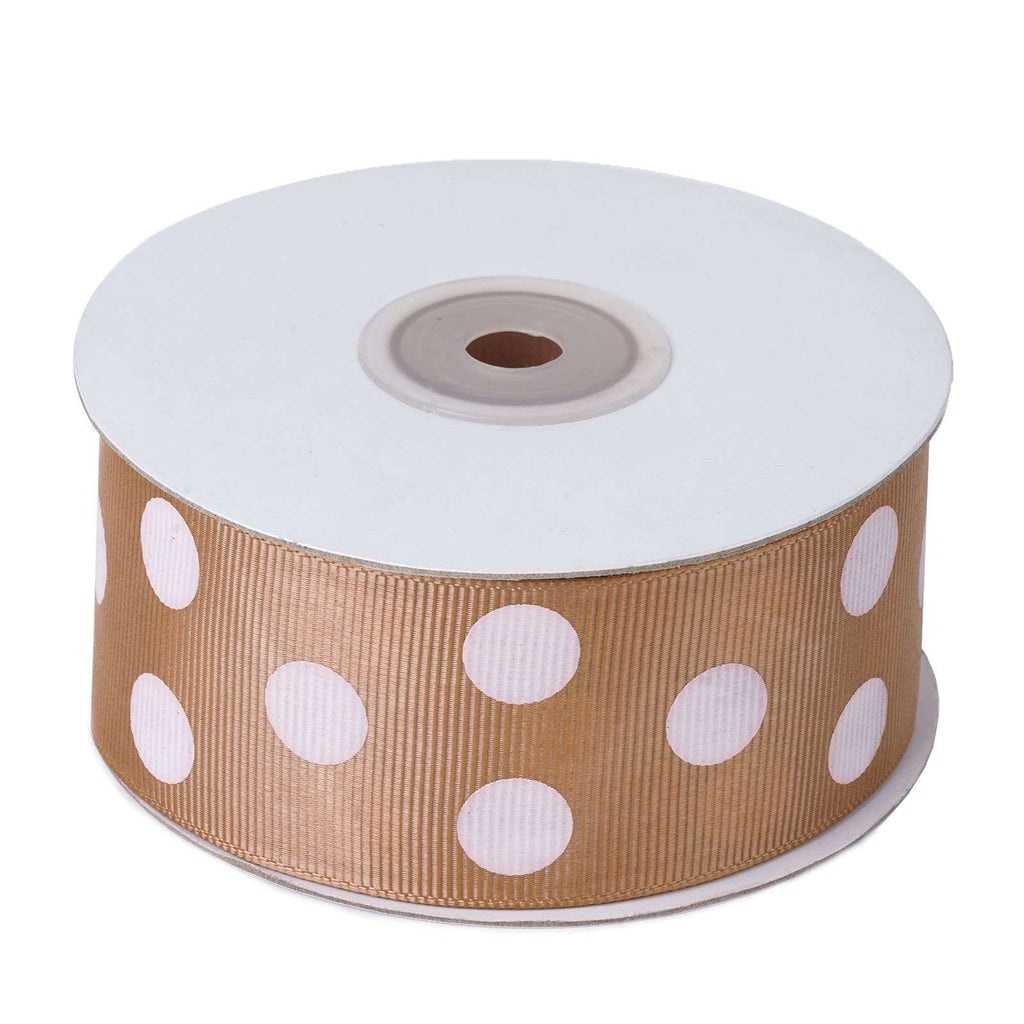 "1.5"" Grosgrain Polka Dot Ribbon - Tan - 25 Yard"