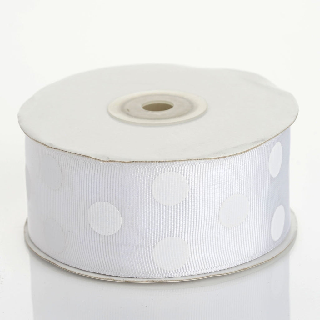 "25 Yards 1.5"" DIY White Grosgrain White Polka Dot Ribbon"