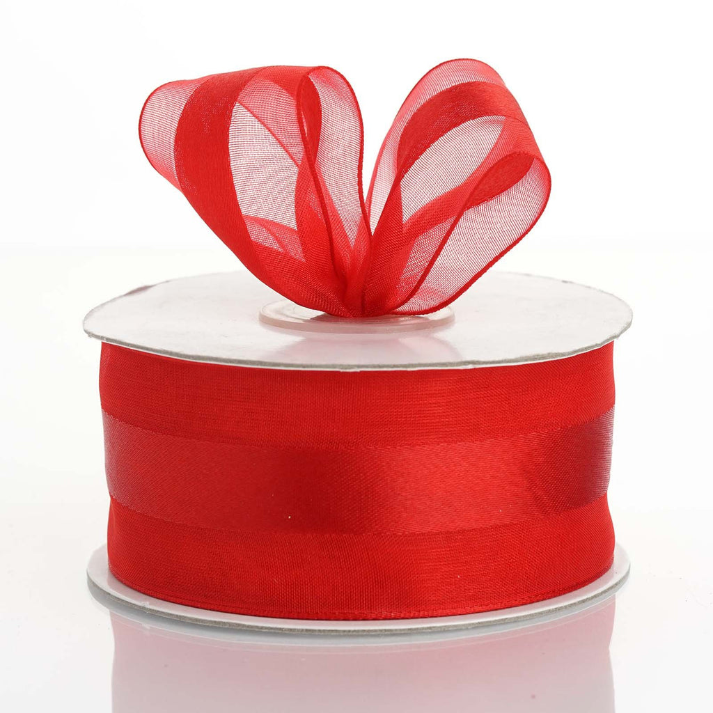 "25 Yards 1.5"" DIY Red Satin Center Ribbon"