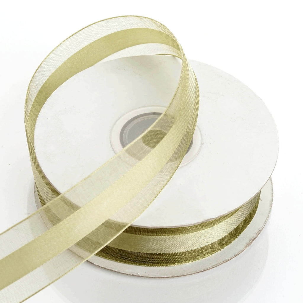 "25 Yards 7/8"" Willow Green Organza Satin Center Ribbon"