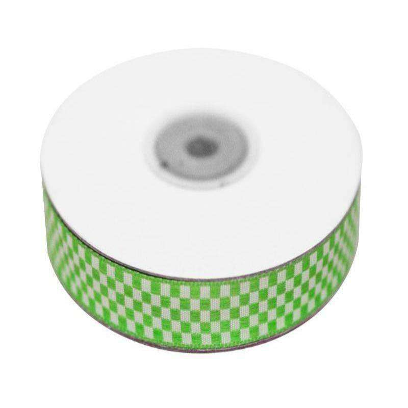 "Checkered Ribbons Gingham 5/8"" x 25yrds per roll-Apple Green"