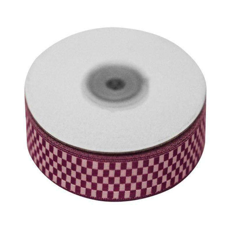 "Checkered Ribbons Gingham 5/8"" x 25yrds per roll-Eggplant"