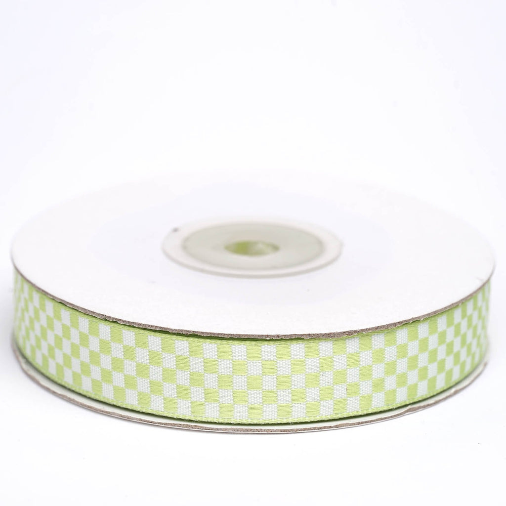 "25 Yard 5/8"" DIY Green Gingham Checkered Ribbon"