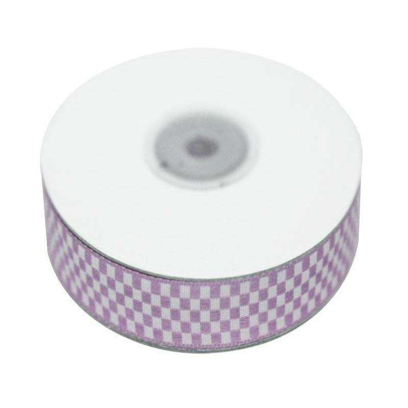 "Checkered Ribbons Gingham 5/8"" x 25yrds per roll-Lavender"