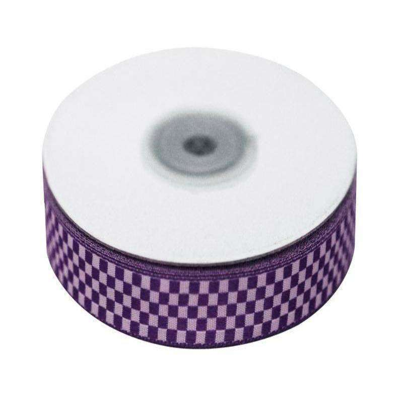 "Checkered Ribbons Gingham 5/8"" x 25yrds per roll-Purple"