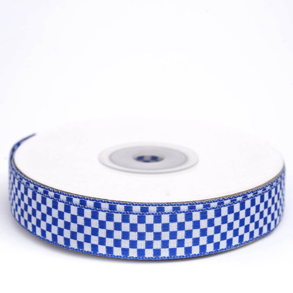 "25 Yard 5/8"" DIY Royal Blue Gingham Checkered Ribbon"